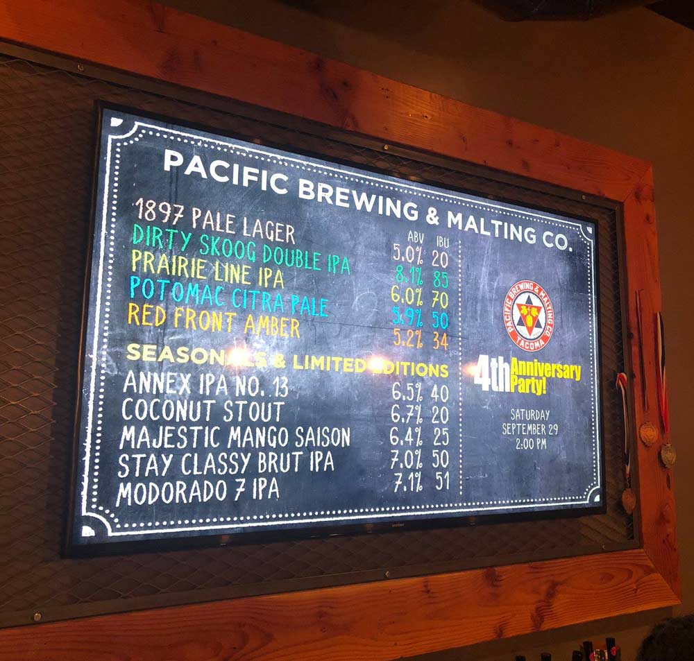 Pacific Brewing & Malting Co. Taproom Menu